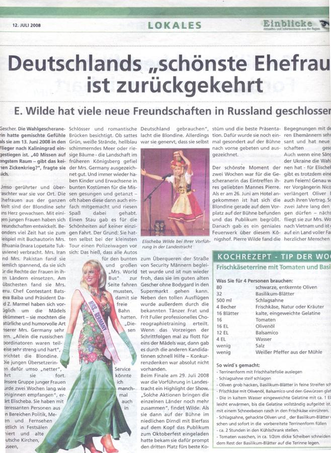 """Deutschlands """"schönste Ehefrau"""" ist zurückgekehrt – <div>Rückblick auf Mrs. World Wahl</div>"""